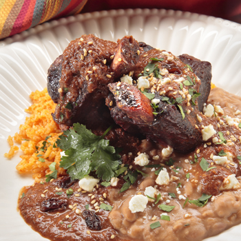 Beef Ribs with Smoky Raisin Mole