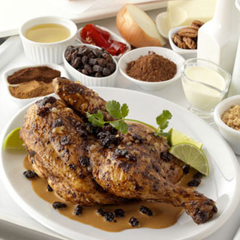 Cinnamon-Broiled-Chicken-California-Raisins-Red-Chile-Pecan-Sauce-350x350