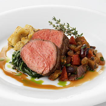 Roast Tenderloin of Beef with Fennel-Raisin Gnocchi, Wilted Watercress ...