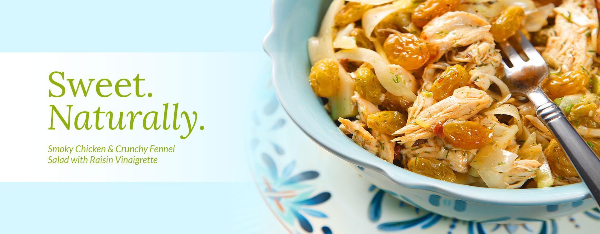 Smoky Chicken & Crunchy Fennel Salad with Raisin Vinaigrette