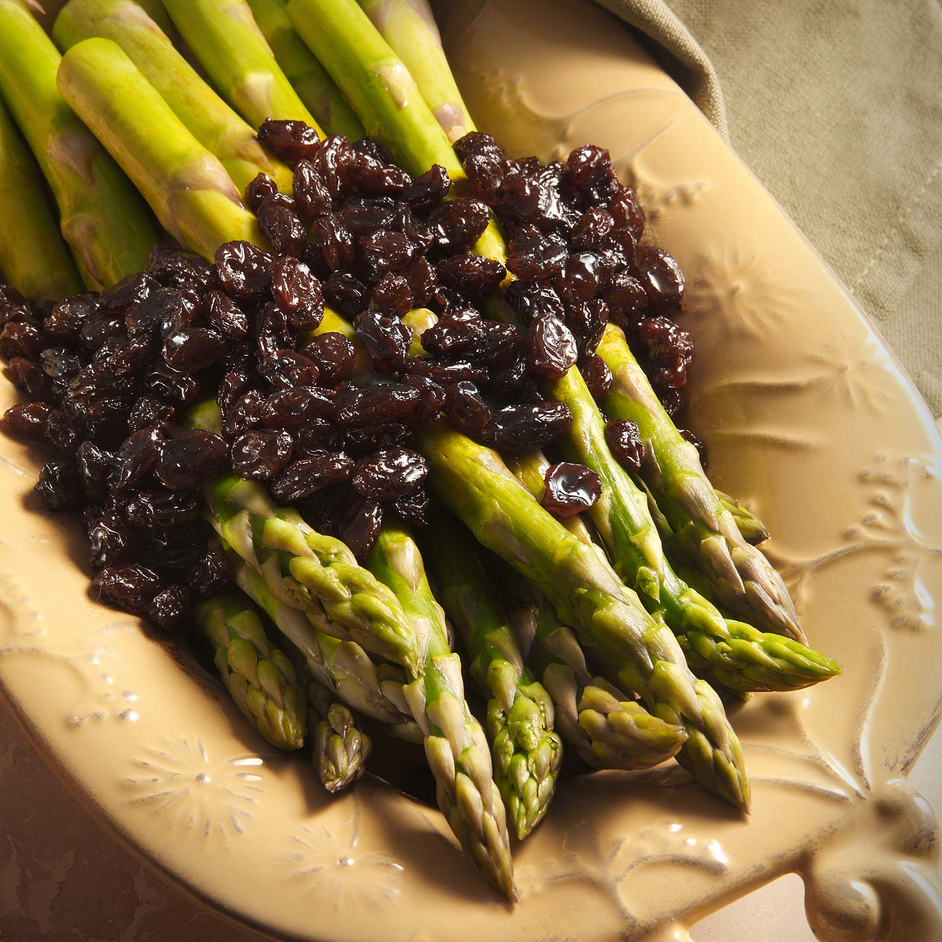 Roasted Asparagus With Balsamic Brown Butter And Raisins